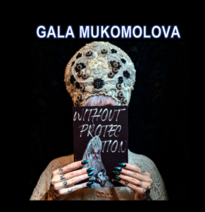 A person wearing a traditional Ukrainian Kokoshnik holds Gala's book in their hands. There is a black background. Their fingernails are black and spooky!