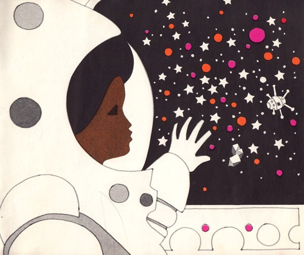 an illustrated image of a black astronaut in space looking out onto stars. Has a 1960's mod look.